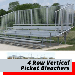 4 Row Bleachers With Vertical Picket Fence