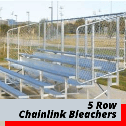 5 Row Bleachers With Chain Link Safety Fence